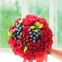 Wholesale chinese fruit seeds for sale - Group buy Wedding Bridal Bouquet Red Silk Holding Flower Chinese Style Bouquet Fruit Seed Prom Wedding Photograph Props Pieces DHL