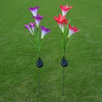 ingrosso fiori di giardino solare potenza-Solar Power Flower LED Light Garden Lampada solare Lampada da giardino decorativa Lampada da giardino Illuminazione per esterni 4 Head Lily