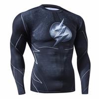 ingrosso costumi cosplay rapidi-Rashguard Uomo Abbigliamento di marca Camicia di compressione moda Flash Costume Cosplay Abbigliamento da fitness asciutto veloce Tshirt con stampa 3d