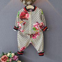 flores de niñas al por mayor-Traje de niños Primavera otoño Niño niña Traje Chaqueta de flor + Pantalones 2 piezas Conjuntos de ropa para niños Bebé niña niño conjunto traje