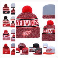 schwarze flügelhut großhandel-Detroit Red Wings Strickmütze Weiß Grau Rot Schwarz Detroit Red Wings Hysteresenkappen Verstellbare Kappe Einheitsgröße