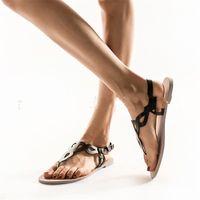 Wholesale women red open toe heels resale online - Summer Beach Shoe Seaside Open Toe Sandal Female Flat Heel Hollowing Out Design Black White Soft Fashion hm C1