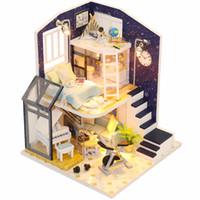 minyatür diy oyuncaklar toplayın toptan satış-Bebek Evi Ahşap Mobilya Diy Dollhouse Minyatür Bulmaca Araya 3d Modeli Miniatura Dollhouse Oyuncaklar Çocuklar Için Doğum Günü H ...