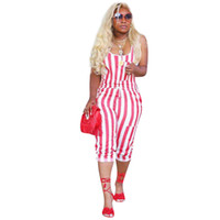 плюс богемная одежда оптовых-Vintage Plus Size Jumpsuits Women Printed White Red Striped Jumpsuit Nightclub Playsuit Clothes Bohemian Summer Beach Overalls