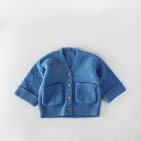 tığ işi çocuk kazağı toptan satış-0-24 ay Bebek Kazak Bebekler kız erkek örgü ceket cepler ile ins sıcak toddlers surcoat örgü tığ ceket ahşap düğmeler ile
