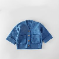 Wholesale infant jackets coats baby resale online - 0 month Baby Sweater Infants girls boys knitting coat with pockets ins hot toddlers surcoat knit crochet jacket with wooden buttons