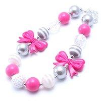 ingrosso collana di rosa calda dei branelli-Gioielli Hot Pink bella Beads Bow Kid collana robusta + Silver di modo di colore di Bubblegum Bead collana robusta Giovani delle ragazze del bambino