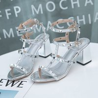 Wholesale roman style heeled sandals for sale - Group buy 2019 brand The new style of women s shoes with Roman coarse and versatile fairy style high heel rivets and web celebrity sandals