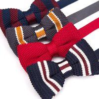 mens stricken fliegen großhandel-Mens Bowtie Strick Strick Freizeit Striped Bow Krawatten für Männer Einstellbare Butterfly Double Deck Neckwear Woven Krawatte Krawatte
