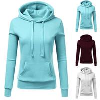 dropped hoodie toptan satış-Moda Bayan Hoodie Sarı Rahat Uzun Kollu Kazak Kapüşonlu Kazak Cebinde Dropshipping Ile Yeni Bluz Bluz Tops