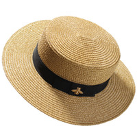 Wholesale girls straw wide brim hat for sale - Group buy Woven Wide brimmed Hat Gold Metal Bee Fashion Wide Straw Cap Parent child Flat top Visor Woven Straw Hat