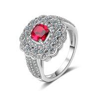 hochwertige aaa schmuck großhandel-Mode Roten Stein Luxus AAA Zirkon Intarsien Hochzeit Ring Hohe qualität Silber Farbe Hochzeit Verlobungsfeier Ringe Frauen Schmuck