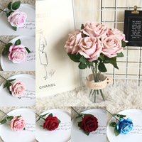 Wholesale black flower simulation resale online - Cloth Rose Artificial Flower Fleece Rose Simulation Flower Wedding Party Festival DIY Rose Bouquet Flower Home Living Room Decor