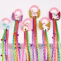 Wholesale real braiding hair resale online - 1 PC Unicorn Design Children Wig Elastic Hair Bands Girls Braids Unicorn Wing Hair Tie Twisted Sweet Kids Rainbow Rubber Band