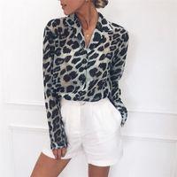 bayanlar gündelik gömlekler yaka toptan satış-Şifon Bluz Uzun Kollu Seksi Leopard Baskı Bluz Aşağı çevirin Yaka Lady Ofisi Gömlek Tunik Casual Gevşek Tops Artı boyutu blusas
