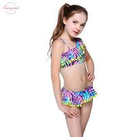 crianças, biquínis, miúdos, swimwear venda por atacado-Bikini Childrens Dois Kid bonito Lotus Vestido Swimwear Swimwear Pedaço bola de um ombro Swimsuit meninas terno de banho