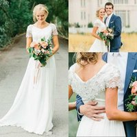 Wholesale 2020 Country Wedding Dresses Short Sleeves Beading Crystal Chiffon V Neck Custom Made Plus Size Wedding Gowns vestido de novia