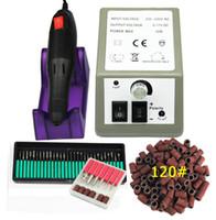 kit de unhas acrílico elétrico venda por atacado-Profissional Prego Elétrica Máquina de Broca Arquivo Da Arte Do Prego 36 Bits 120