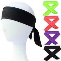 solide sport stirnbänder großhandel-Sport Stirnbänder Solide Tie Back Stretch Schweißbänder Yoga Haarband Feuchtigkeitstransport Männer Frauen Bands Schals zum Laufen Joggen