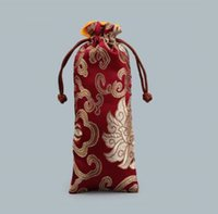Wholesale chinese silk drawstring bags resale online - Flower Cloth Drawstring Bag Chinese Silk Brocade Jewelry Necklace Gift Lengthen Rich Pouch Ox Horns Comb Trinket Storage Pocke LXL249 A