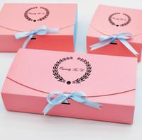 rosa cookie-boxen großhandel-10 stücke Besonders Für U Rosa Papier Kuchen Box Party Geschenk Verpackung Box Für Schokolade Cookie Süßigkeiten Paket Hochzeitsgeschenk Verpackung