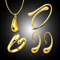 joyas de coral rojo indio al por mayor-Joyería nupcial de la boda de la manera fijada oro del color brazaletes de la gota + collar + anillos + pendientes Joyería de alta calidad del partido de las mujeres Accesorios