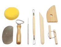 diy seramik malzemeleri toptan satış-8 adet / takım Kullanımlık Diy Çömlekçilik Tool Kit Ev İşi Kil Heykel Seramik Kalıplama Çizim Araçları