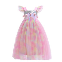 Wholesale kids pink ball gown prom dresses resale online - Girl Princess Dresses Ruffle Gauze Sequined Pompom Flying Sleeve Backless Full Dress Kids Prom Clothes Girls Baby Girl Dresses