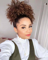 Wholesale ponytails resale online - 120g afro ponytail extension human hair ponytails afro kinky clip in virgin brazilian hair drawtring ponytail