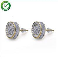 Wholesale bling fashion accessories resale online - Designer Earrings Hip Hop Jewelry Luxury Mens Stud Earrings Brand Iced Out Diamond Fashion Gold Silver for Men Bling Crystal Accessories
