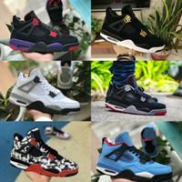 tomas x al por mayor-Nike Air Jordan 4 2019 Nuevo 4 Tattoo JACK Travis Scotts X Zapatillas de baloncesto para hombre 4s Houston Oiler White Cement Raptors barato Royalty Retro Zapatillas de deporte