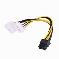 Wholesale ide adapters online - 5 inch cm Pin PCI Express Male To Dual LP4 Pin Molex IDE Power Cable Adapter