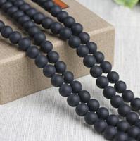 cuentas redondas de 12 mm. al por mayor-8/10/12 mm Natural mate black Agate Beads piedras preciosas redondas perlas sueltas para la pulsera DIY