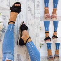 Wholesale big bow shoe flat online - Big Code Ladies Buckle Band Sandals Straw Weaving Flat Heel Ventilation Slipper Vine Bottom Bow Anti Wear Shoes sd I1
