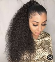 Wholesale 18 22 human hair ponytail for sale - Group buy kinky curly human hair ponytails wraps de queue de cheval human hair clip in extensions g g natural black b