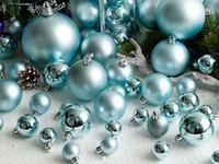 luzes pingente rosa venda por atacado-3-15 cm Azul E Luz Azul Claro Fosco Bola de Natal Festa de Casamento Tendência Árvore de Natal Decoração Pingente de Bola de Bolha