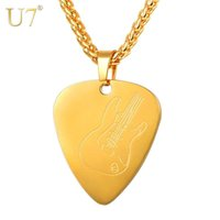 Wholesale necklace pendant for boys resale online - U7 Guitar Pick Pendant Necklace Stainless Steel Collares Love Shape Guitar Pattern Chain for Women Men Girls Boys Gift P1191