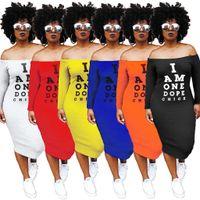 orta kollu yazlık elbiseler toptan satış-Offf Omuz Seksi T Gömlek Elbise Kadın Mektup Baskı Slash Boyun Bandaj Elbise Yaz Kısa Kollu Backless Orta Buzağı Elbise