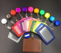 Wholesale black retractable badge reel resale online - 10 cm Square Credit Card Holders Without Zipper Bus ID Holders Identity Red Yellow Blue Badge with Retractable Reel