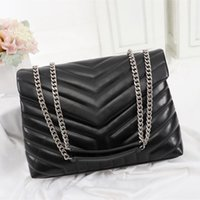 Wholesale black quilted handbag gold chain resale online - Luxury designer handbags LOULOU Y shaped quilted real leather women bags shoulder bag with chain Flap bag multiple colour high quality