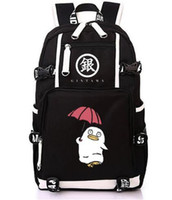 Wholesale anime printed backpack resale online - Japanese anime GINTAMA backpack women student schoolbag bookbag canvas men printing Sakata Gintoki fans color large laptop bag