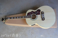 Wholesale acoustic electric guitar free for sale - Group buy Custom Shop New Arrival Dot Spruce Beige SJ200 Strings Electric Acoustic Guitar With Fisherman Pickups