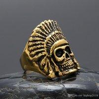 indischen chefringe großhandel-Pay4U New Herren Hip Hop Gold Ringe Schmuck Retro Indian Chief Skeleton Ring Vintage Edelstahl Ring