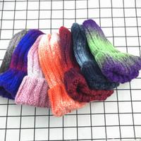 Wholesale korean beanie ears resale online - Elastic Rainbow Gradient Knit Hat Winter Warm Ear Muffs Korean Beanie Cap Fashion Women Outdoor Travel Ski Cap TTA1683