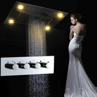 juego de ducha de techo moderno al por mayor-Venta al por mayor Modern LED Set de ducha de techo Rainfall Waterfall Shower Head Hot Cold High Flow Bath Mixer Accesorios de baño T 161222 # 161225
