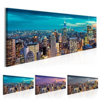 noche vista de la ciudad pintura al por mayor-HD Wall Art Print Vintage New Classics 1 Pcs New York City Night View Canvas Painting Modular Picture Poster Decoración para el hogar Sin marco