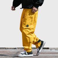Wholesale green baggy pants online - Hip Hip Pant Streetwear Men Harajuku Cargo Pant Denim Baggy Joggers Pant Sring Hipster Long Trousers Yellow Street Wear