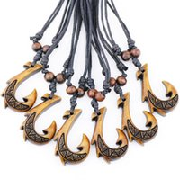 Wholesale necklace chain hook for sale - Group buy Fashion Jewelry cool Simulation Bone Carved Hawaiian Maori Brown Fish Hook Pendant Amulet Necklace drop shipping MN429