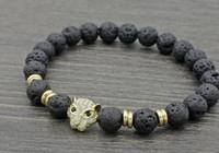 pulseiras de ouro buda venda por atacado-8mm xy434 leopardo prata ouro cobre micro pave cz zircão pulseira de zircônia cúbica preto pedra vulcânica lava pedra Pulseiras de Yoga de Buda