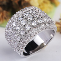 Wholesale wedding imitation jewellery set resale online - Vintage Jewellery ct Simulated diamond Cz Sterling Silver Engagement wedding Band ring for women Female Party ring
